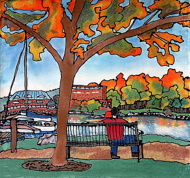 Down by the Waterfront on silk by Linda Marcille
