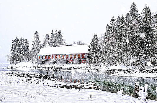 Down East Maine Smokehouse Snowscape by Marty Saccone
