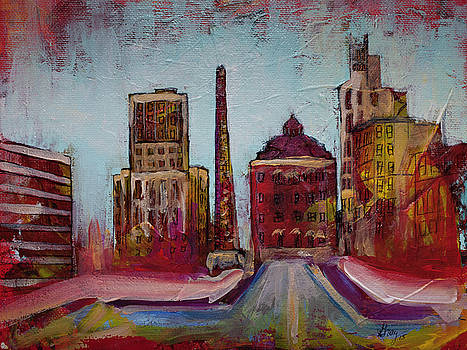 Downtown Asheville Painting Pack Square North Carolina City  by Gray Artus