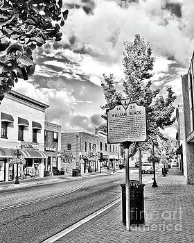Downtown Blacksburg with Historical Marker - Black and White by Kerri Farley