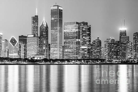 Paul Velgos - Downtown Chicago Skyline Black and White Photo