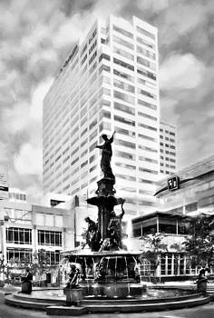 Mel Steinhauer - Downtown Cincinnati At Fountain Square Black and White