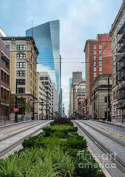 Downtown Houston Texas/Trolley Tracks by Cindy Tiefenbrunn