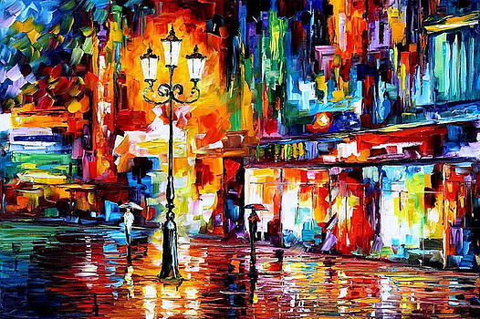 Downtown Lights 2 - PALETTE KNIFE Oil Painting On Canvas By Leonid Afremov by Leonid Afremov