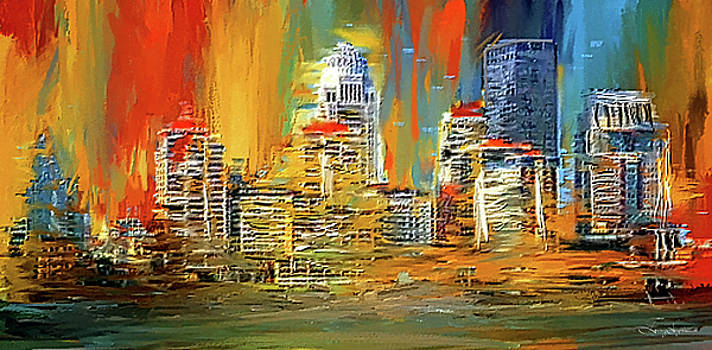 Downtown Louisville - Colorful Abstract Art by Lourry Legarde