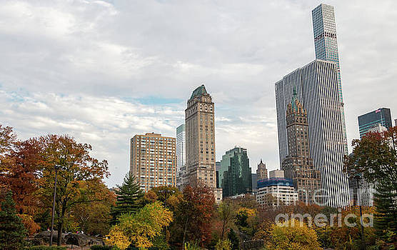 Downtown Manhanttan from Central Park with Partly Cloudy Day by PorqueNo Studios