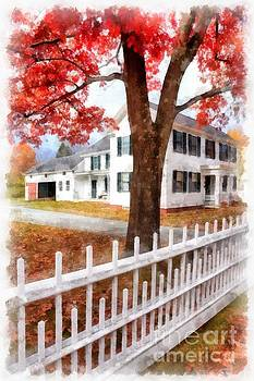 Downtown Norwich Vermont Picket Fence by Edward Fielding