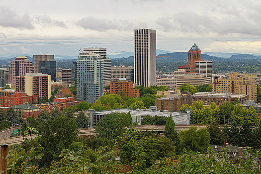 Downtown Portland Cityscape Nestled in Trees by David Gn