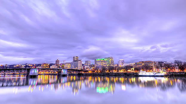 Downtown Portland Oregon Waterfront Sunset Clouds by Dustin K Ryan