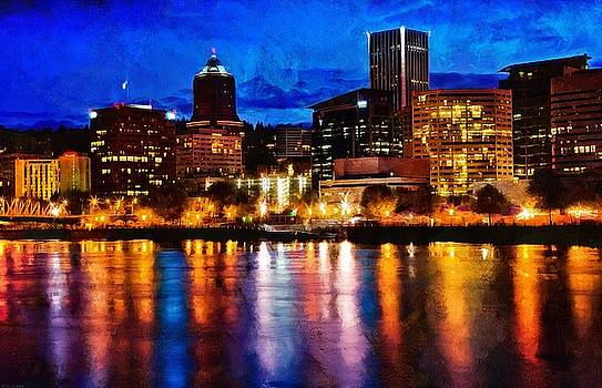 Thom Zehrfeld - Downtown Portland Skyline At Night