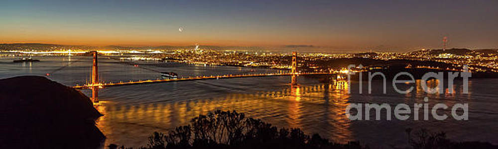 Downtown San Francisco and Golden Gate Bridge just Before Sunris by PorqueNo Studios