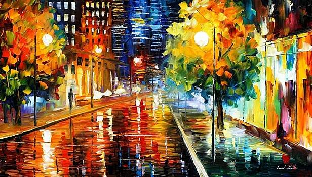 Downtown Street - PALETTE KNIFE Oil Painting On Canvas By Leonid Afremov by Leonid Afremov