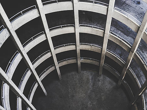 Downward Spiral - Looking Down Parking Garage by Dylan Murphy