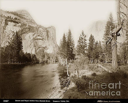 California Views Mr Pat Hathaway Archives - Domes and Royal Arches from Merced River Yosemite Valley Calif. circa 1890