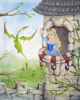 Dragon Above the Castle Wall by Cathy Cleveland