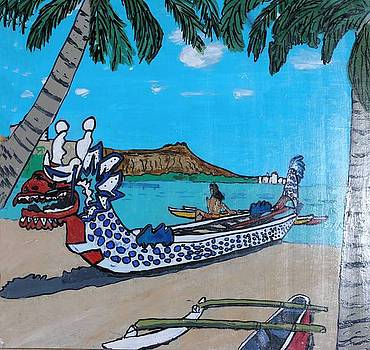 Dragon boat at Diamond Head by Shawn Elston