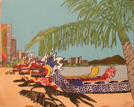Dragon Boats at rest near Diamond head by Shawn Elston