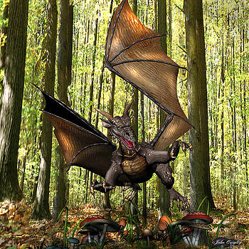 Dragon 'Edwin' - Dropping In for a Snack by John Quigley