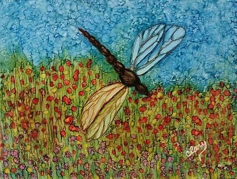 Dragon Fly in Poppy Field by Linda Clary