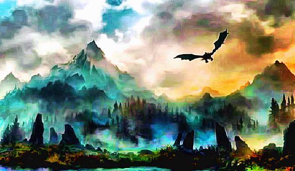 Dragon Over Valyria by Mario Carini