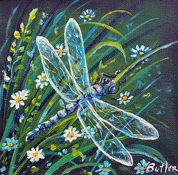 Dragonfly and Daisies by Gail Butler