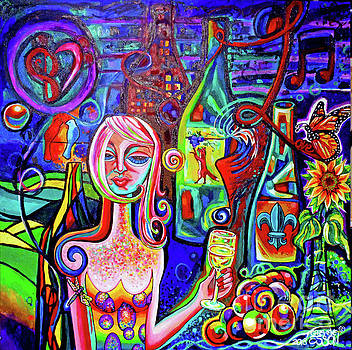 Dragonfly Girl With Wine And Grapes WallBall 2018 ORIGINAL by Genevieve Esson