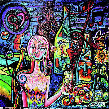 Dragonfly Girl With Wine And Grapes WallBall 2018 Watercolor by Genevieve Esson