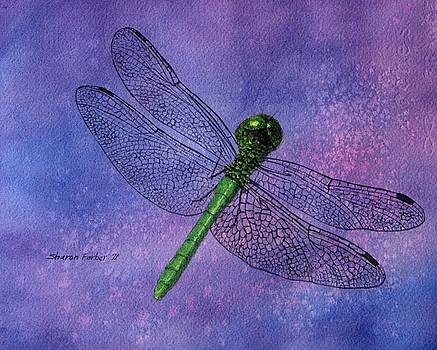 Dragonfly on Purple by Sharon Farber