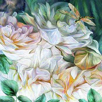 Dragonfly On Roses by Carol Cavalaris