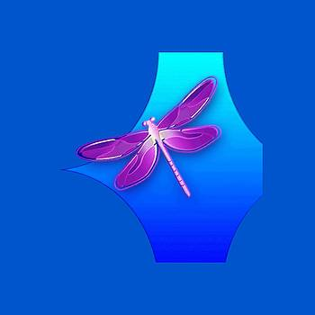 Dragonfly Pink on Blue by Deleas Kilgore