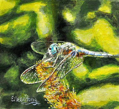 Dragonfly with Seed Pod by Eileen  Fong