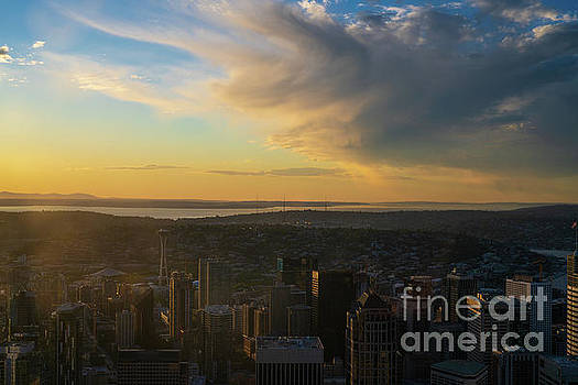 Dramatic Sunset Clouds Above Seattle by Mike Reid