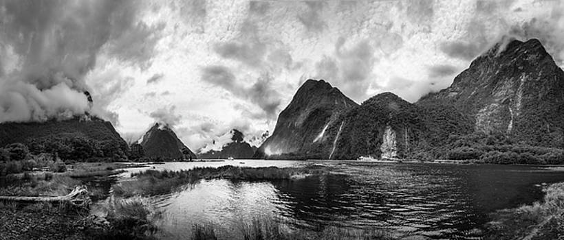 Dramatic weather at Milford Sound in black and white by Daniela Constantinescu