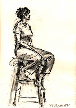 Drawing of a seated lady by Alexandra Cook