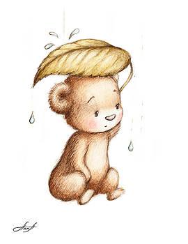 Drawing of Teddy Bear Hiding from the Rain under a Big Green Lea by Anna Abramska