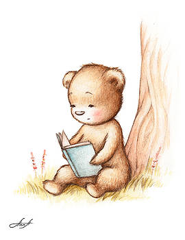 Drawing of Teddy Bear Reading a Book under Tree by Anna Abramska