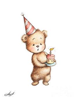 Drawing of Teddy Bear with Birthday Cake by Anna Abramska