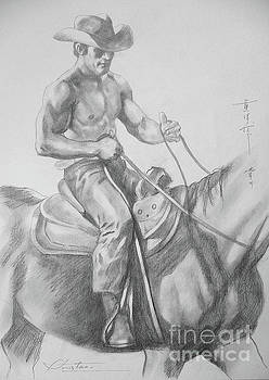 Drawing Pencil Cowboy On Horse #17119 by Hongtao Huang