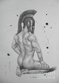 Drawing Pencil Male Nude On Paper #17330 by Hongtao Huang