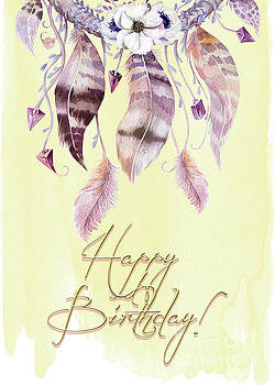 Dreamcatcher and Feathers BD Card by Pam  Holdsworth