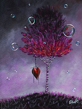 Dreaming Is Beautiful - Pink Tree Painting by Shawna Erback