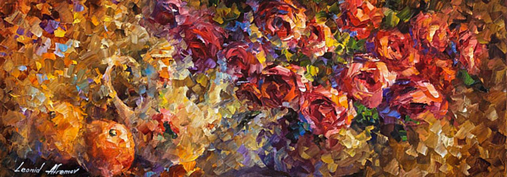 Dreaming Roses - PALETTE KNIFE Oil Painting On Canvas By Leonid Afremov by Leonid Afremov