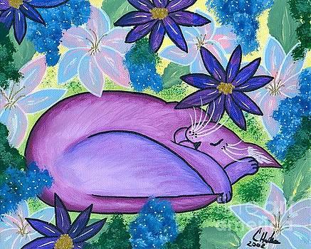 Dreaming Sleeping Purple Cat by Carrie Hawks