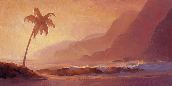 Dreams of Hawaii - Tropical Beach Sunset Paradise Landscape Painting by Karen Whitworth
