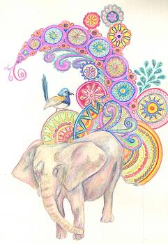 Dreamy Elephant and Bird by Cherie Sexsmith