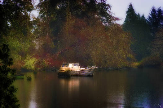 Dreary Day on the River by Dee Browning