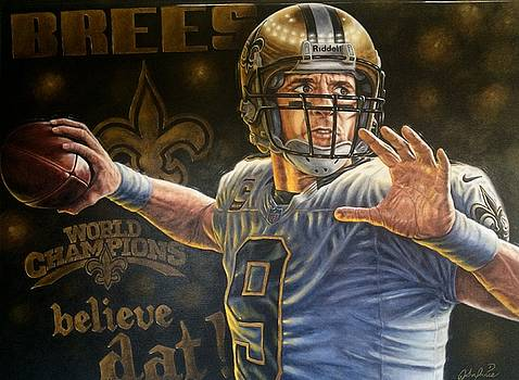 For Sale Drew Brees original painting 48 x 36 inches by Sports Art World Wide John Prince