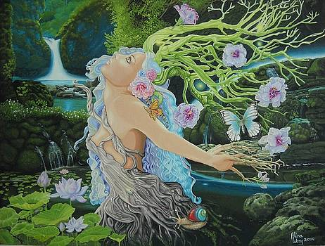 Dryad Wading in Secret Forest Pool by Alina  Wong