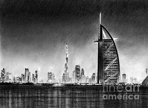 Dubai Cityscape Drawing by David Rives