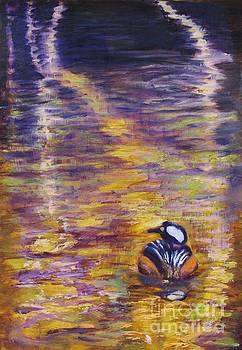 Duck on Gold Reflections by Vivian Haberfeld